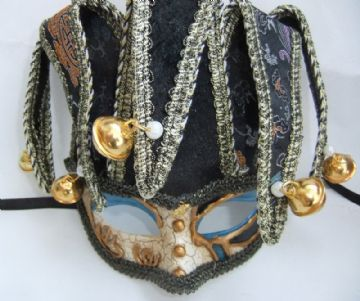 Gents Venetian style Black & Cream Jester Mask